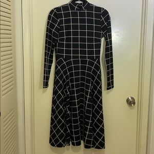 Black and white dress - retro style, long sleeves